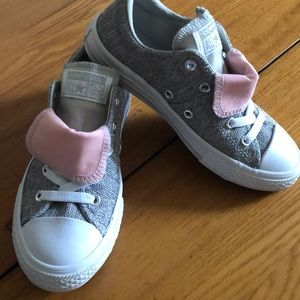 Converse double tongue chucks gray pink like new 1
